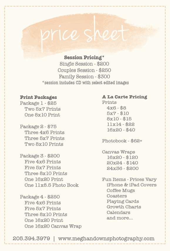 Wedding Photography Pricing Packages: Session Pricing/ Print Packages